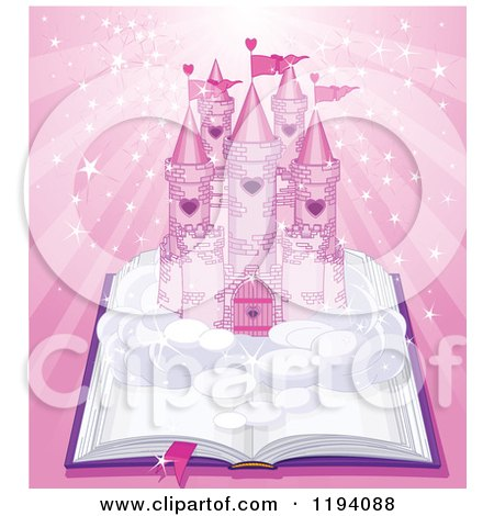 Cartoon of a Fairy Tale Castle on an Open Book over Magic Pink Rays - Royalty Free Vector Clipart by Pushkin