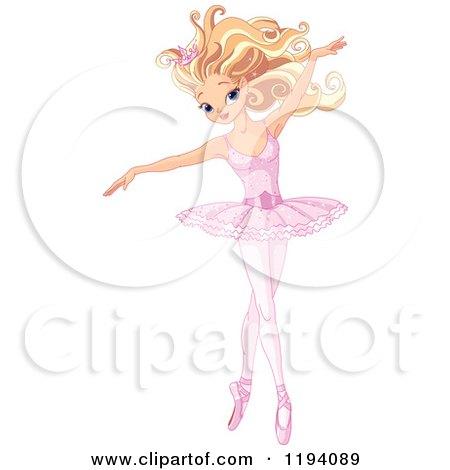 Cartoon of a Beautiful Blond Ballerina Dancing Gracefully - Royalty Free Vector Clipart by Pushkin