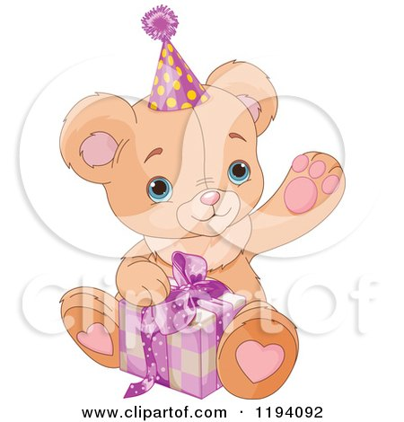 Cartoon of a Cute Waving Teddy Bear Opening a Birthday Present - Royalty Free Vector Clipart by Pushkin