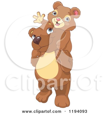 Cartoon of a Cute Cub Waving and Sitting on Father Bear's Shoulders - Royalty Free Vector Clipart by Pushkin