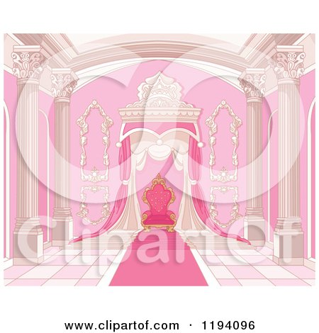Cartoon of a Pink Grand Interior with Columns Carpet and Throne - Royalty Free Vector Clipart by Pushkin
