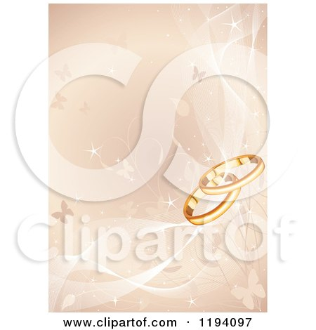 Cartoon of a Golden Background of Vines Butterflies and Wedding Rings with Mesh Waves - Royalty Free Vector Clipart by Pushkin