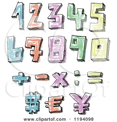 Cartoon of Colorful Colored Sketched Numbers - Royalty Free Vector Clipart by yayayoyo