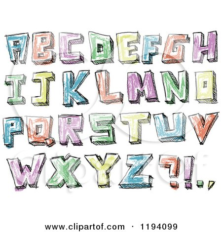 Cartoon of Colorful Colored Sketched Capital Letters - Royalty Free Vector Clipart by yayayoyo