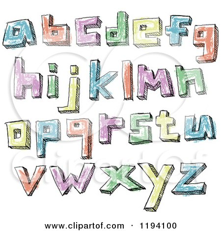 Cartoon of Colorful Colored Sketched Lowercase Letters - Royalty Free Vector Clipart by yayayoyo