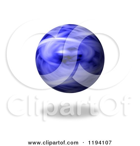 Clipart of a Fiery Blue Globe and Shadow on White - Royalty Free CGI Illustration by oboy