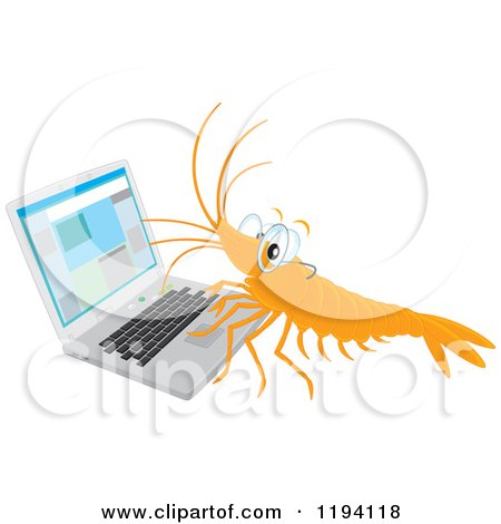 Cartoon of a Shrimp Wearing Glasses and Working on a Laptop - Royalty Free Vector Clipart by Alex Bannykh