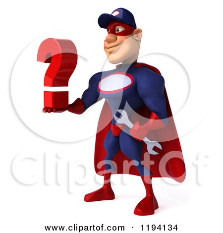 Clipart of a 3d Super Hero Mechanic in Red and Dark Blue, Holding a Question Mark 2 - Royalty Free CGI Illustration by Julos