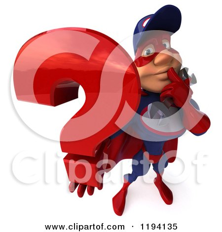 Clipart of a 3d Super Hero Mechanic in Red and Dark Blue, Holding a Question Mark - Royalty Free CGI Illustration by Julos