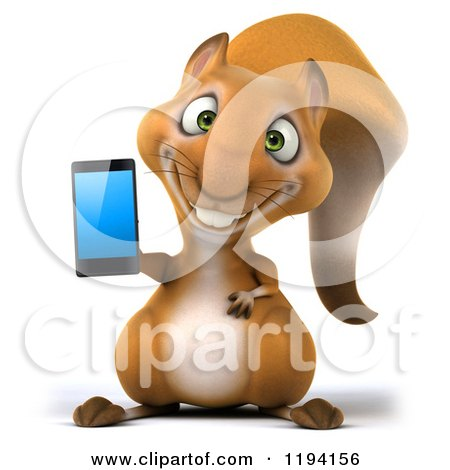 Clipart of a 3d Happy Squirrel Holding a Cell Phone - Royalty Free CGI Illustration by Julos