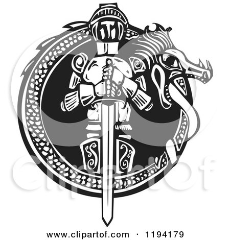 Clipart of a Knight in a Dragon Frame Black and White Woodcut - Royalty Free Vector Illustration by xunantunich