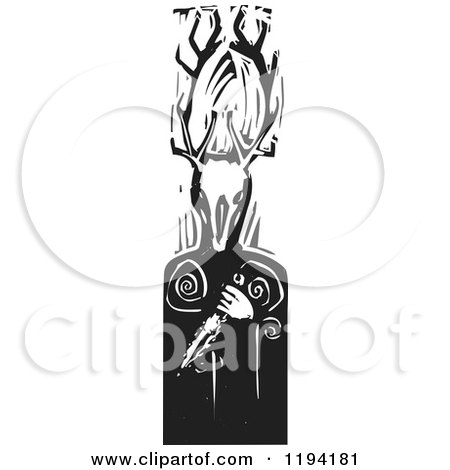 Clipart of the Celtic Horned God Cernunnos with a Knife Black and White Woodcut - Royalty Free Vector Illustration by xunantunich