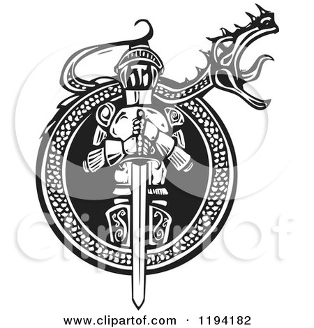 Clipart of a Knight in a Roaring Dragon Frame Black and White Woodcut - Royalty Free Vector Illustration by xunantunich