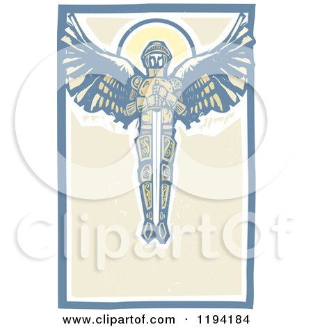 Clipart of a Saint Michael the Archangel with a Sword in the Sky Woodcut - Royalty Free Vector Illustration by xunantunich
