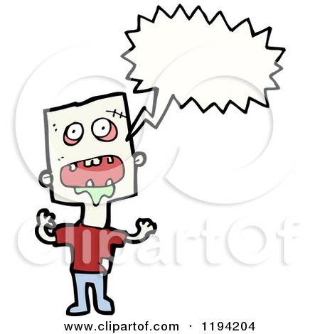 Cartoon of a Carzy Man Speaking - Royalty Free Vector Illustration by lineartestpilot