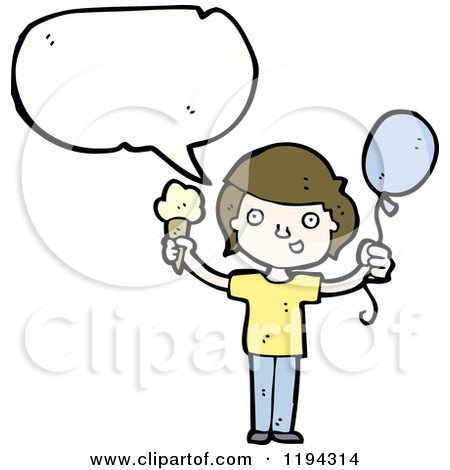 Cartoon of a Boy Speaking and Holding a Baloon and an Ice Cream Cone - Royalty Free Vector Illustration by lineartestpilot