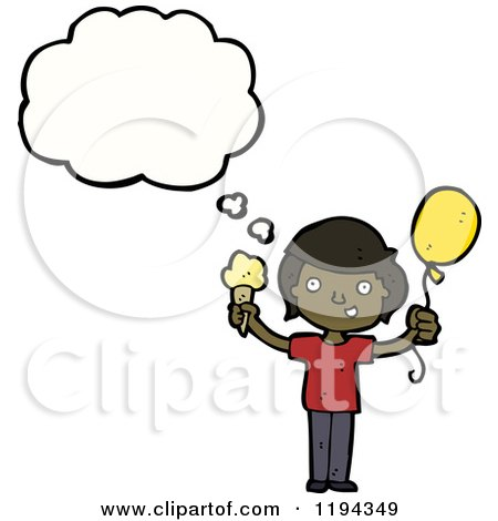 Cartoon of a Black Boy Speaking and Holding a Baloon and an Ice Cream Cone - Royalty Free Vector Illustration by lineartestpilot
