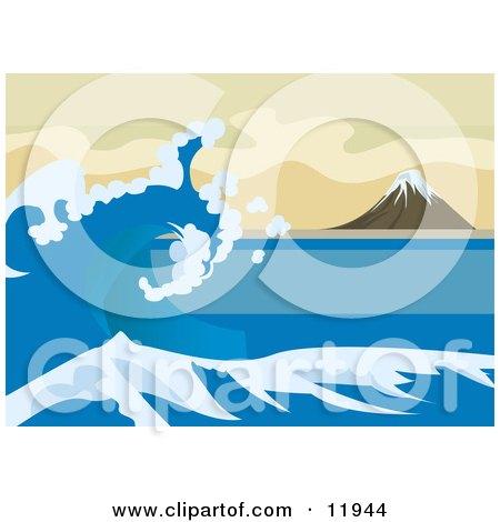 Tsunami Wave Near Mount Fuji, Inspired by The Great Wave off Kanagawa by Katsushika Hokusai Clipart Illustration by AtStockIllustration