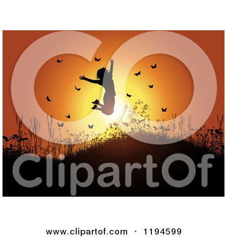 Clipart of a Silhouetted Happy Woman Jumping Against a Sunset on a Hill with Plants and Butterflies - Royalty Free Vector Illustration by KJ Pargeter
