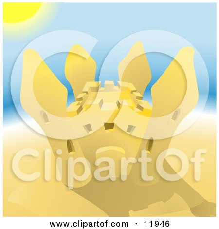 Pretty Sand Castle on a Beach on a Hot Sunny Summer Day Posters, Art Prints