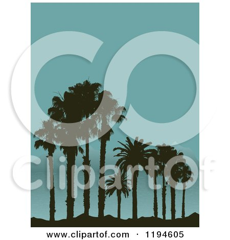 Clipart of Silhouetted Palm Trees on a Tropical Beach and Mountains in the Distance - Royalty Free Vector Illustration by KJ Pargeter