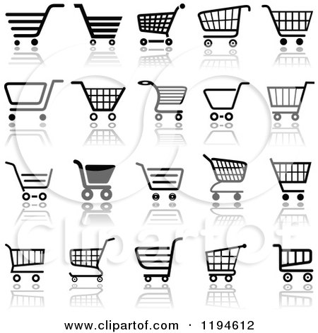 Clipart of Different Styled Black and White Shopping Cart Website Icons 3 - Royalty Free Vector Illustration by dero