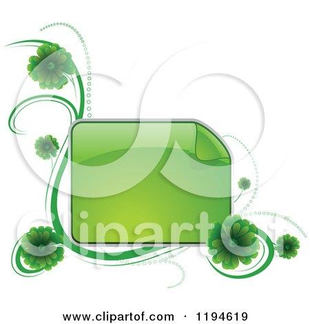 Clipart of a Reflective Green Frame with Green Flowers and Waves - Royalty Free Vector Illustration by dero