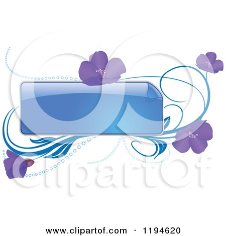 Clipart of a Reflective Blue Frame with Purple Flowers and Waves - Royalty Free Vector Illustration by dero