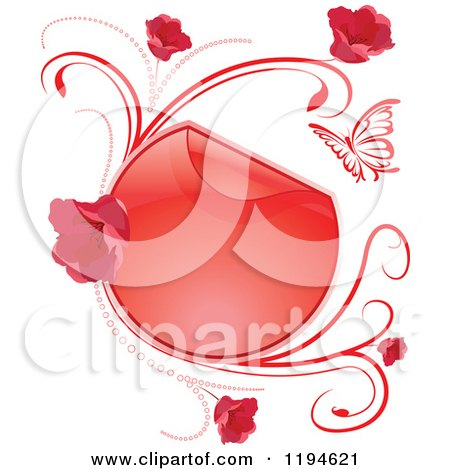 Clipart of a Reflective Round Red Frame with Flowers Butterflies and Vines - Royalty Free Vector Illustration by dero