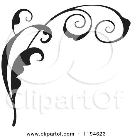 Clipart of a Black Flourish Design Element - Royalty Free Vector Illustration by dero