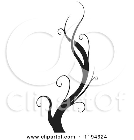 Clipart of a Black Flourish Design Element 4 - Royalty Free Vector Illustration by dero
