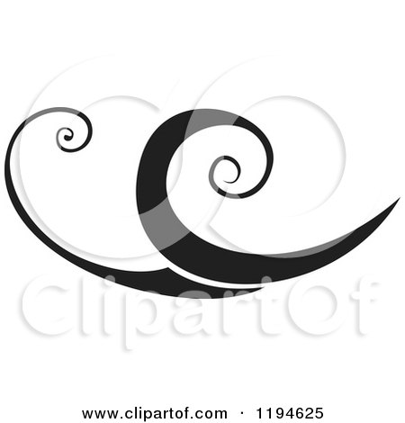 Clipart of a Black Flourish or Wave Design Element 2 - Royalty Free Vector Illustration by dero