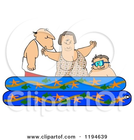 Cartoon of a Happy Caucasian Family Playing in a Pool - Royalty Free Clipart by djart