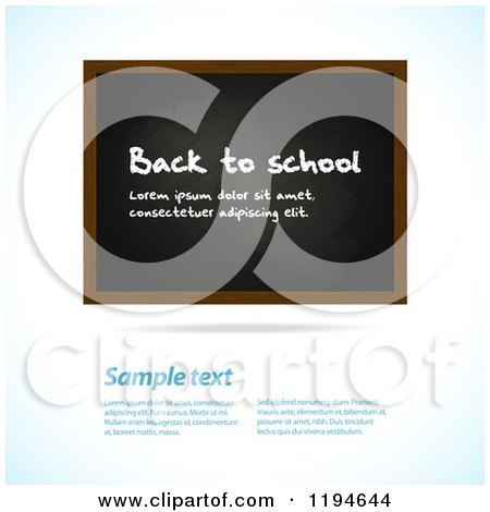 Clipart of a Blackboard with Sample Text on a Shaded Background - Royalty Free Vector Illustration by elaineitalia