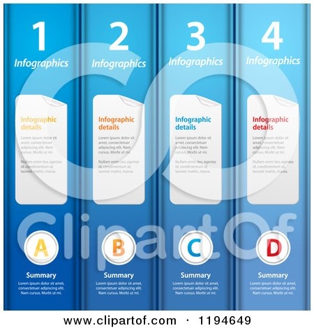 Clipart of Blue Infographic Binder Folders and Sample Text - Vector File and Experience Recommended - Royalty Free Vector Illustration by elaineitalia