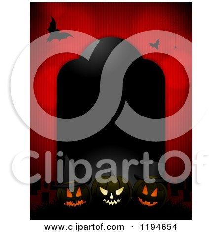 Clipart of a Black Tombstone Frame with Glowing Halloween Pumpkins and Bats over Red - Royalty Free Vector Illustration by elaineitalia