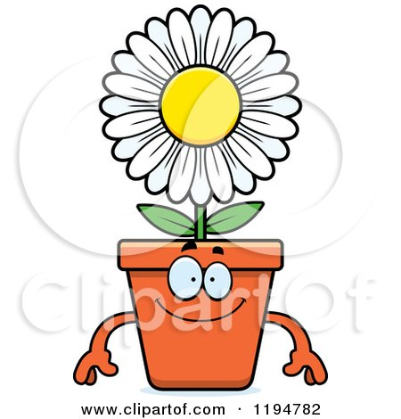 Cartoon of a Happy Flower Pot Mascot - Royalty Free Vector Clipart by Cory Thoman