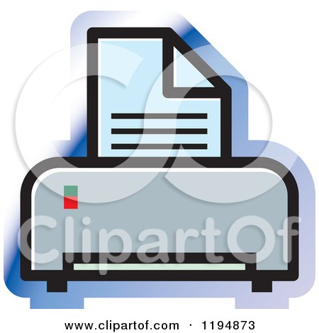 Clipart of a Printer Office Icon - Royalty Free Vector Illustration by Lal Perera