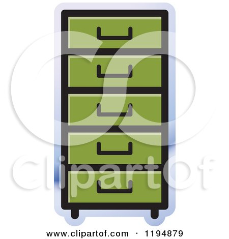 Clipart of a File Cabinet Office Icon - Royalty Free Vector Illustration by Lal Perera
