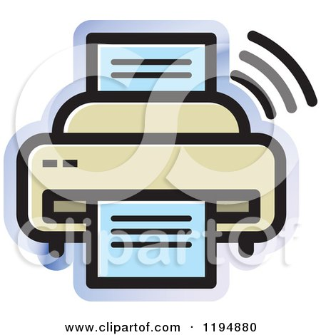 Clipart of a Fax Machine Office Icon - Royalty Free Vector Illustration by Lal Perera