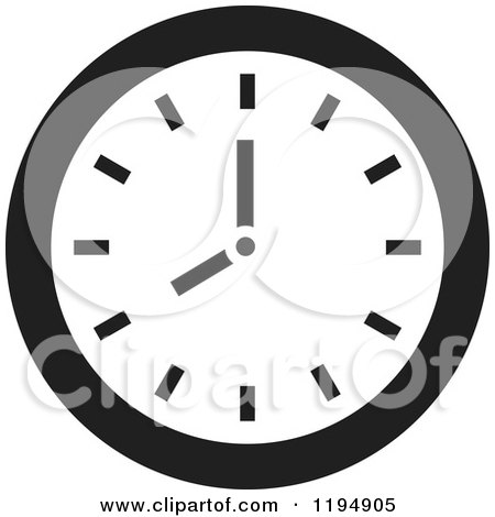Clipart of a Black and White Wall Clock Office Icon - Royalty Free Vector Illustration by Lal Perera