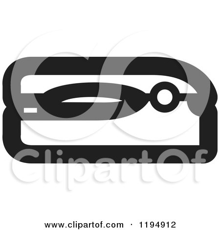 Clipart of a Black and White Stapler Office Icon - Royalty Free Vector Illustration by Lal Perera