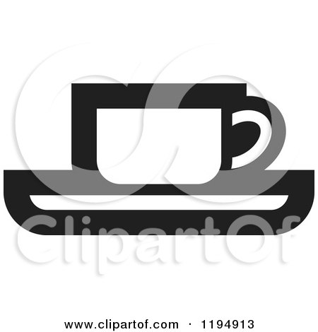 Clipart of a Black and White Tea or Coffee Office Icon - Royalty Free Vector Illustration by Lal Perera