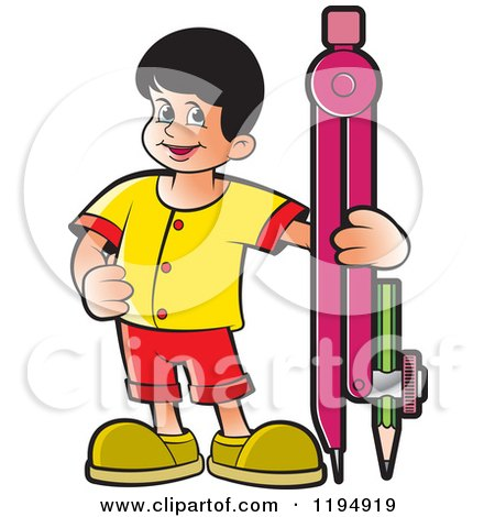 Clipart of a Happy School Boy with a Pencil Compass - Royalty Free Vector Illustration by Lal Perera