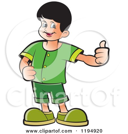Clipart of a Happy School Boy Holding a Thumb up - Royalty Free Vector Illustration by Lal Perera