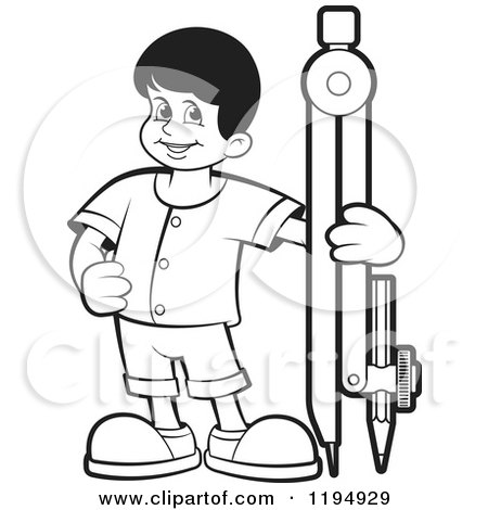 Clipart of a Black and White Happy School Boy with a Pencil Compass - Royalty Free Vector Illustration by Lal Perera