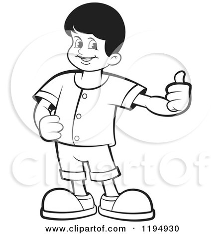 Clipart of a Black and White Happy School Boy Holding a Thumb up - Royalty Free Vector Illustration by Lal Perera