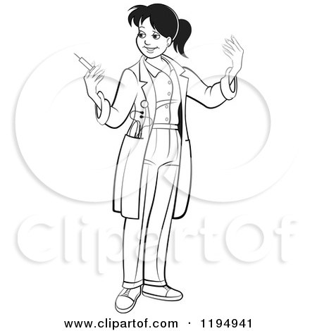 Clipart of a Black and White Female Doctor Waiting for Gloves