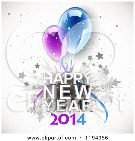 Clipart of Happy New Year 2014 Text with Snowflakes Stars and Party Balloons - Royalty Free Vector Illustration by Oligo