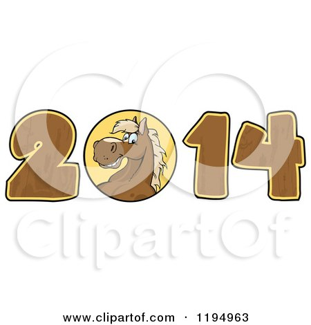Cartoon of a Brown New Year 2014 Horse with Wood Numbers - Royalty Free Vector Clipart by Hit Toon